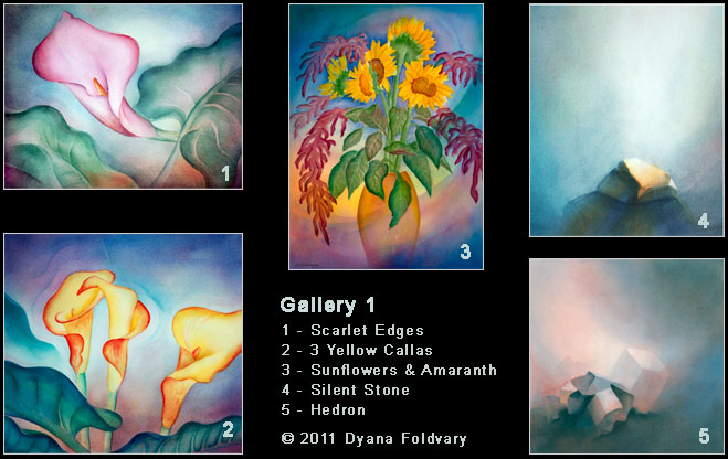 Oil Paintings - Gallery 1, Scarlet Edges, Yellow Callas, Sunflowers & Amaranth, Silent Stone, & Hedron. © 2011 Dyana Foldvary